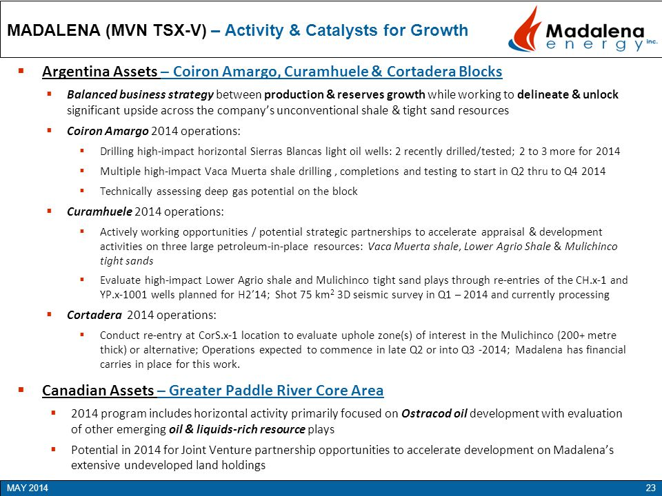 MADALENA (MVN TSX-V) – Activity & Catalysts for Growth