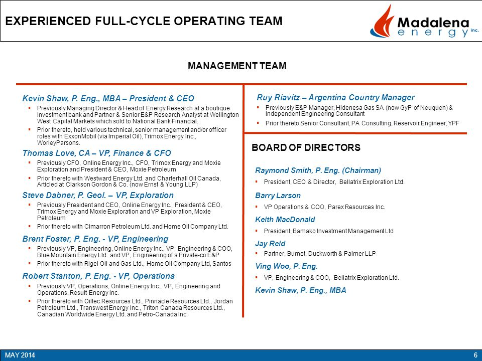EXPERIENCED FULL-CYCLE OPERATING TEAM