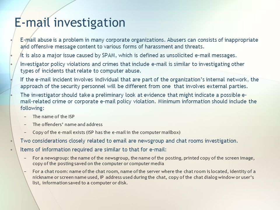 E-mail investigation