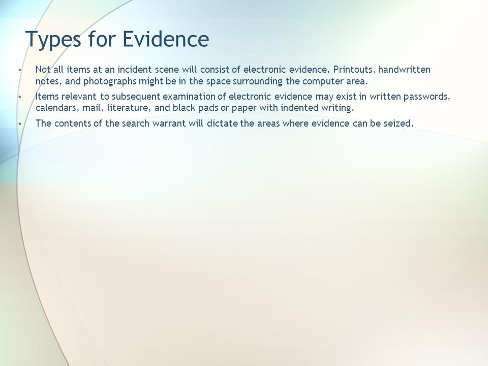Types for Evidence