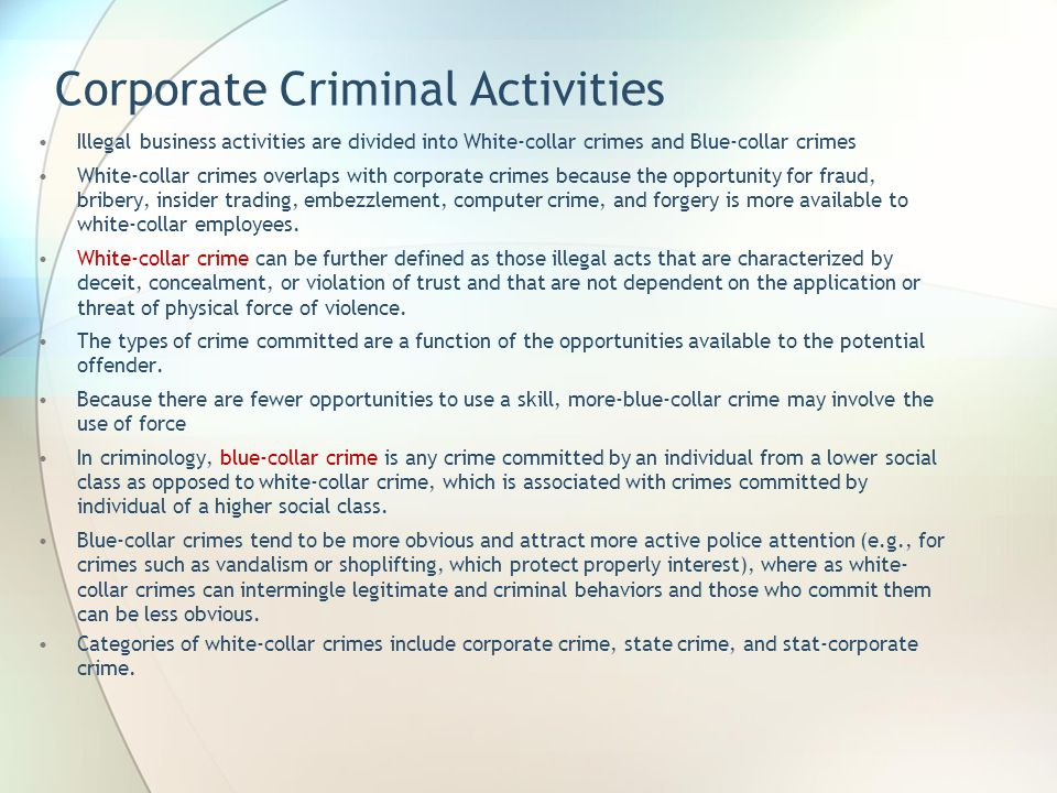 Corporate Criminal Activities