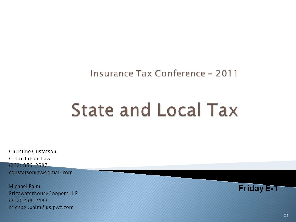 Insurance Tax Conference - 2011 State and Local Tax