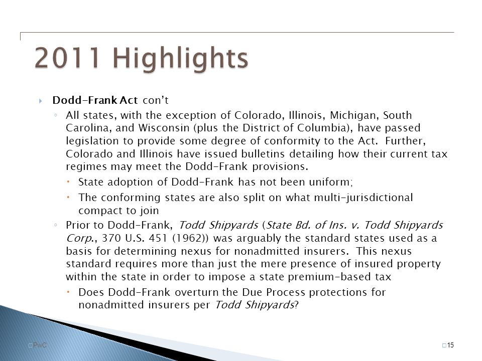 2011 Highlights Dodd-Frank Act con't