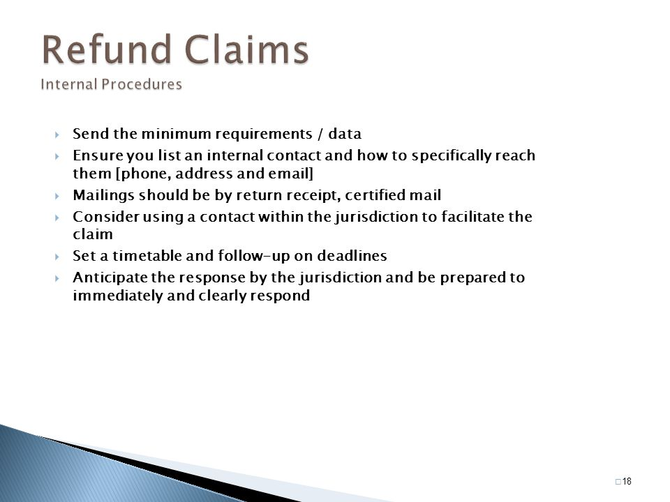 Refund Claims Internal Procedures