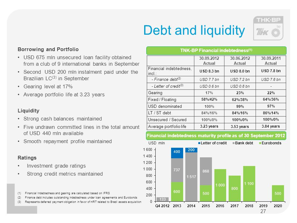 Debt and liquidity Borrowing and Portfolio