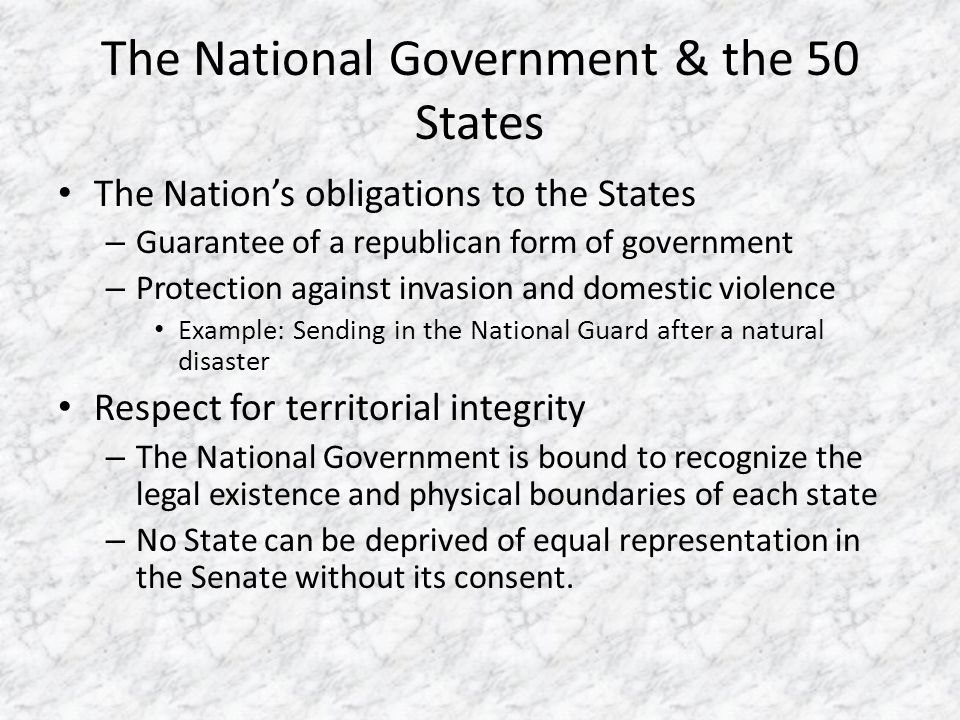 The National Government & the 50 States