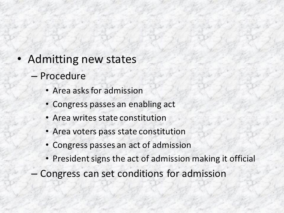Admitting new states Procedure