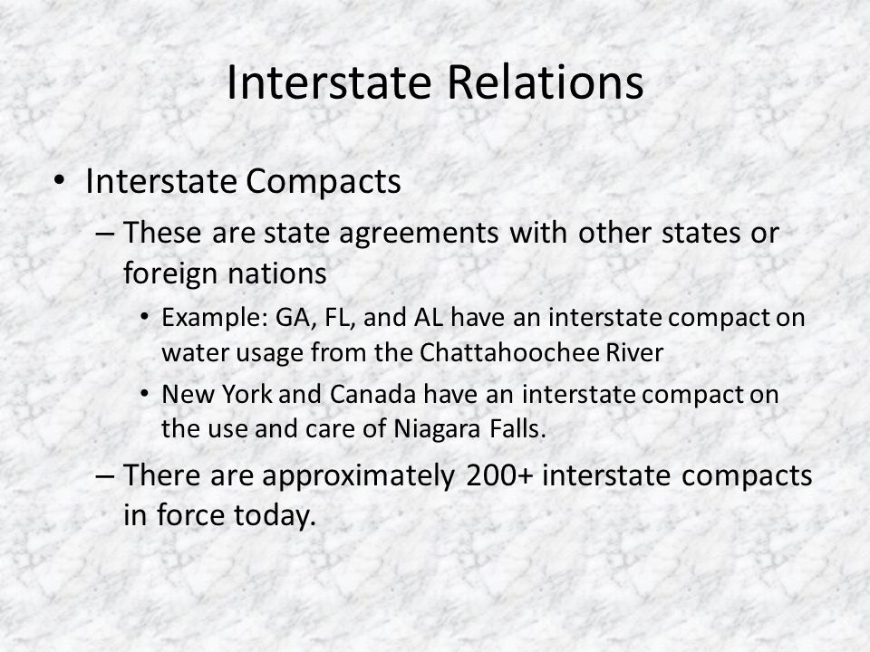Interstate Relations Interstate Compacts