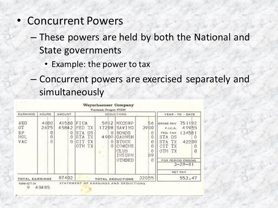 Concurrent Powers These powers are held by both the National and State governments. Example: the power to tax.