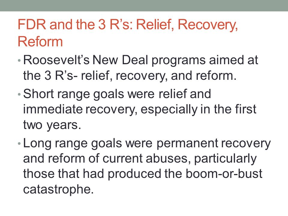FDR and the 3 R's: Relief, Recovery, Reform