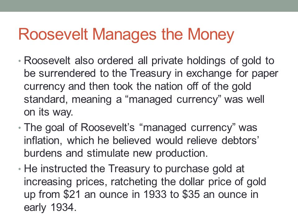 Roosevelt Manages the Money