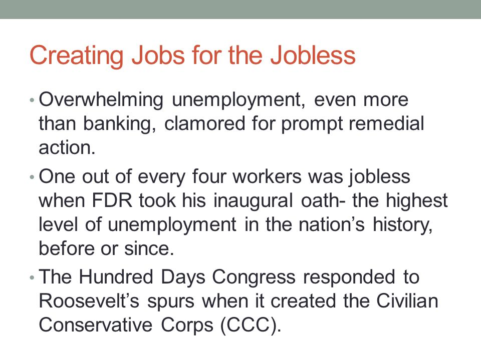 Creating Jobs for the Jobless