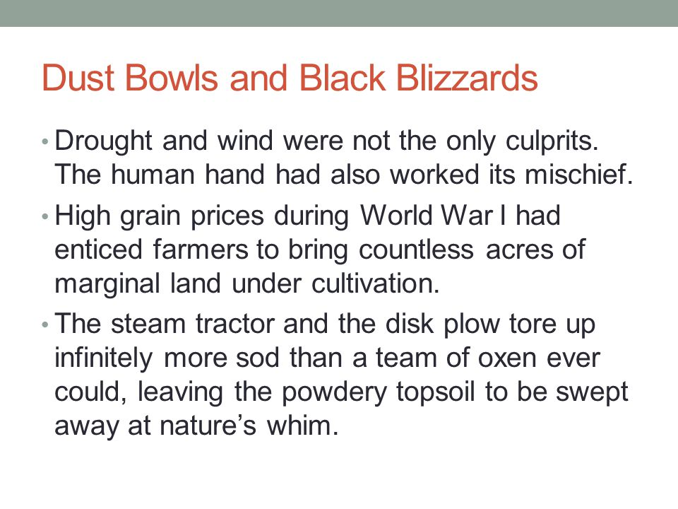 Dust Bowls and Black Blizzards