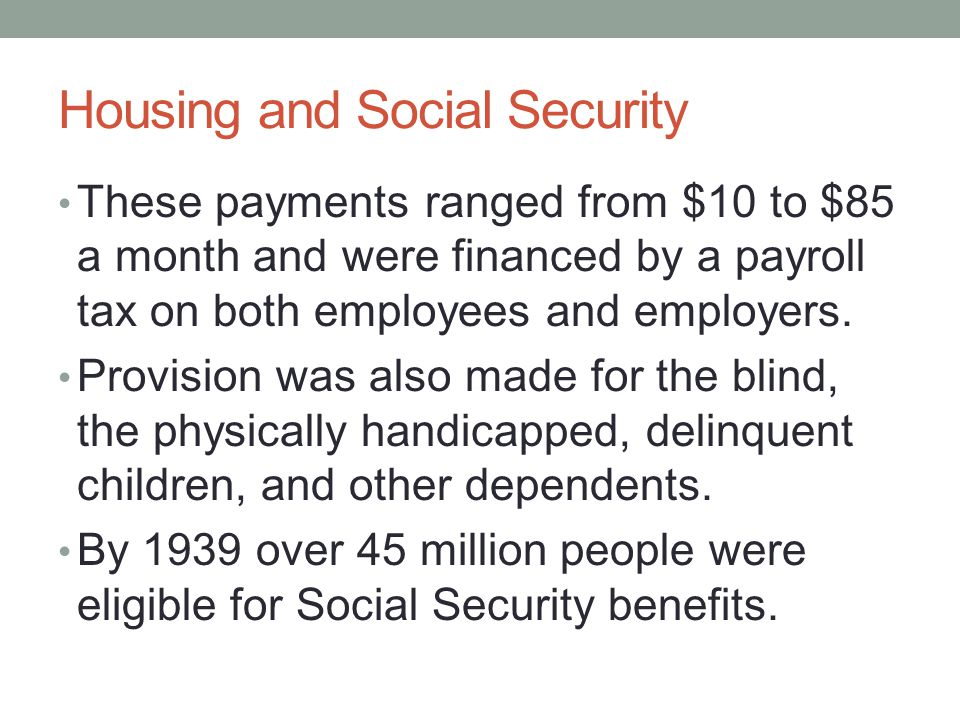 Housing and Social Security