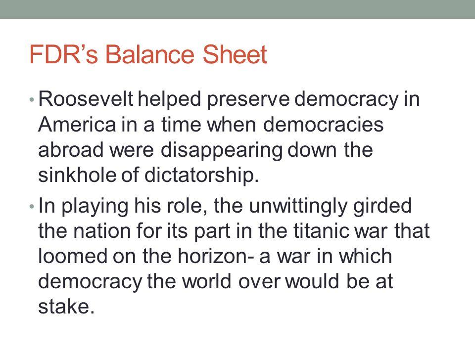 FDR's Balance Sheet