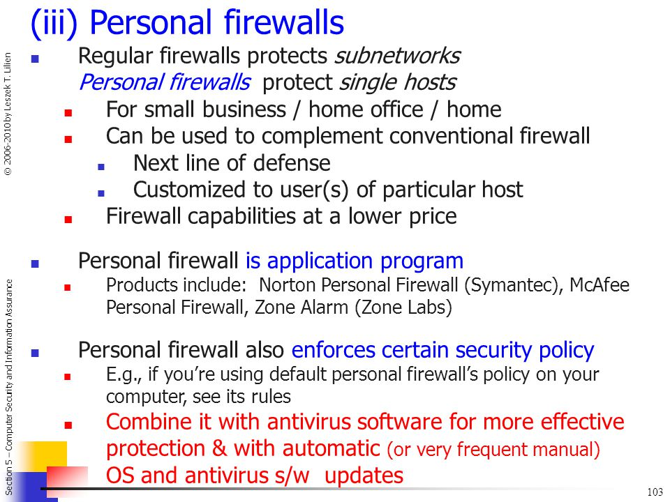 (iii) Personal firewalls