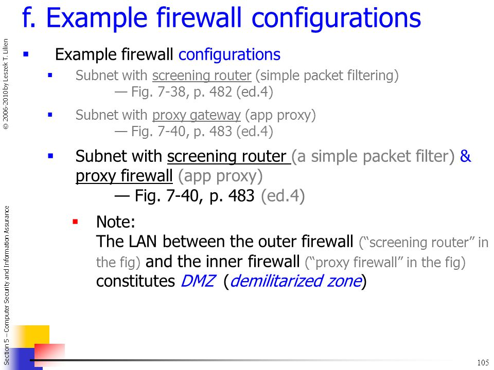 f. Example firewall configurations