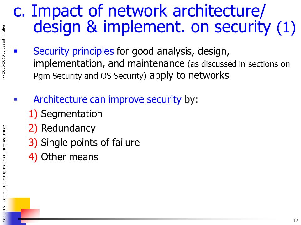 c. Impact of network architecture/ design & implement. on security (1)