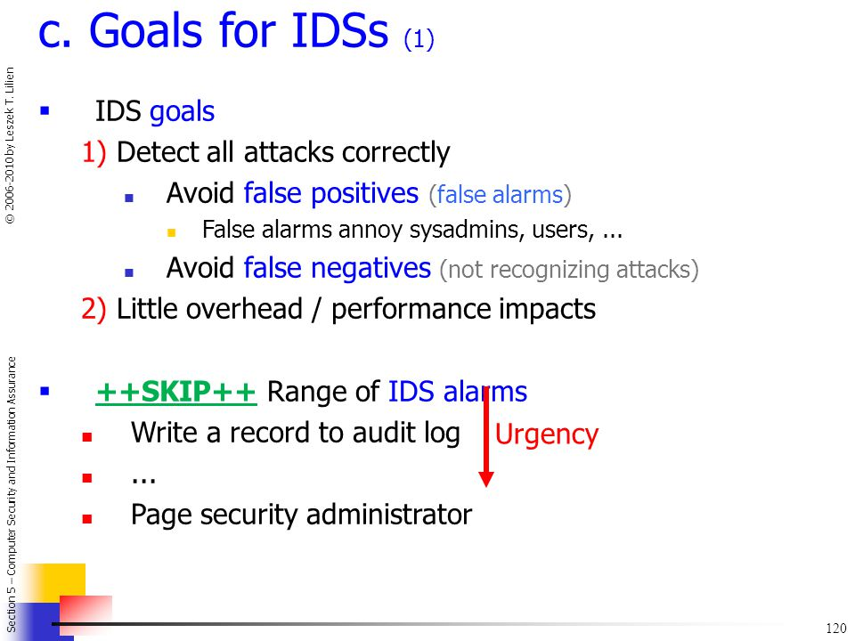 c. Goals for IDSs (1) IDS goals 1) Detect all attacks correctly