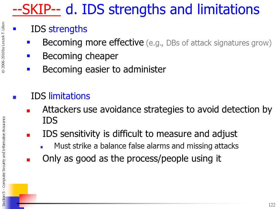 --SKIP-- d. IDS strengths and limitations