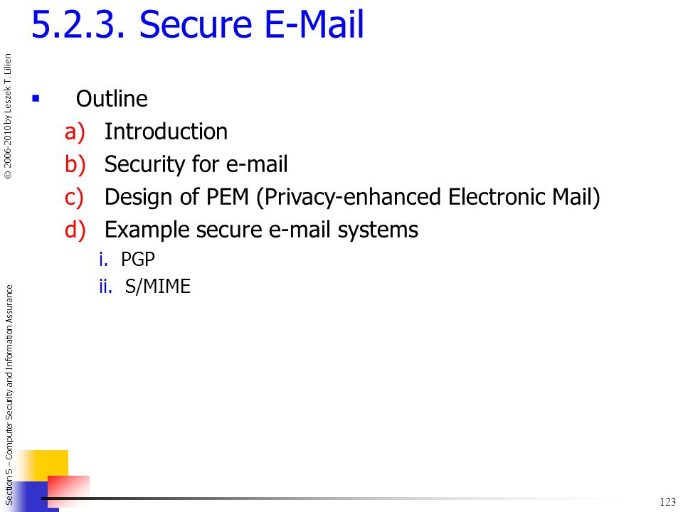 5.2.3. Secure E-Mail Outline Introduction Security for e-mail
