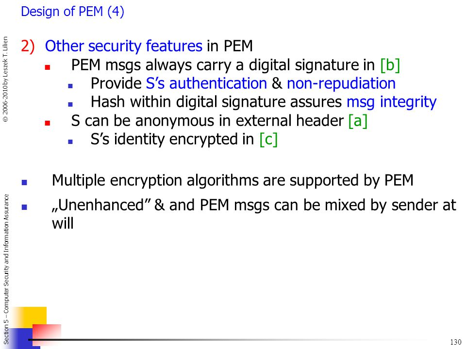 2) Other security features in PEM