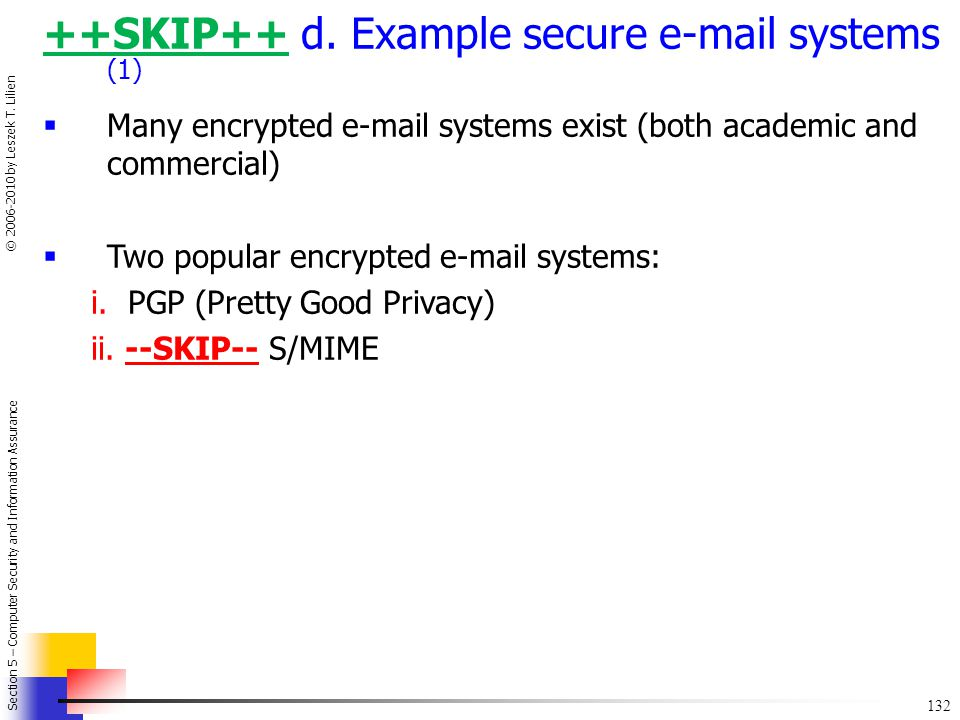 ++SKIP++ d. Example secure e-mail systems (1)