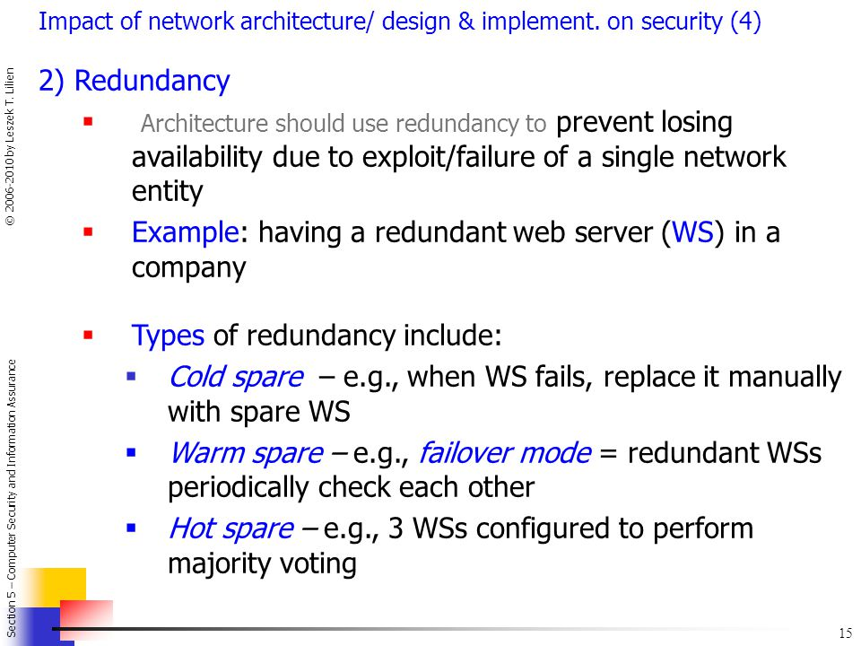 Example: having a redundant web server (WS) in a company