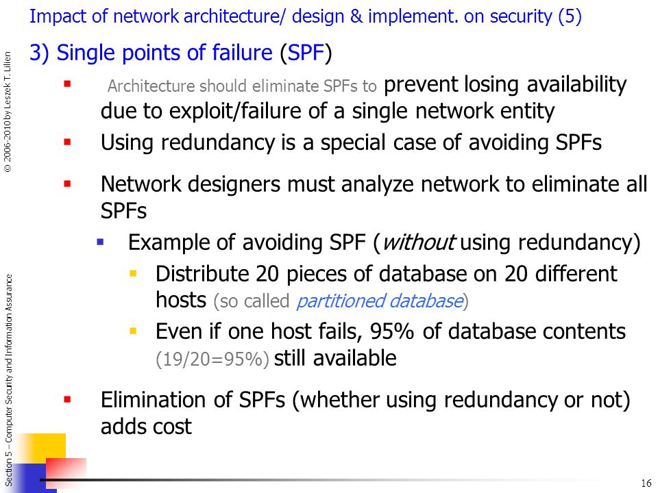 3) Single points of failure (SPF)