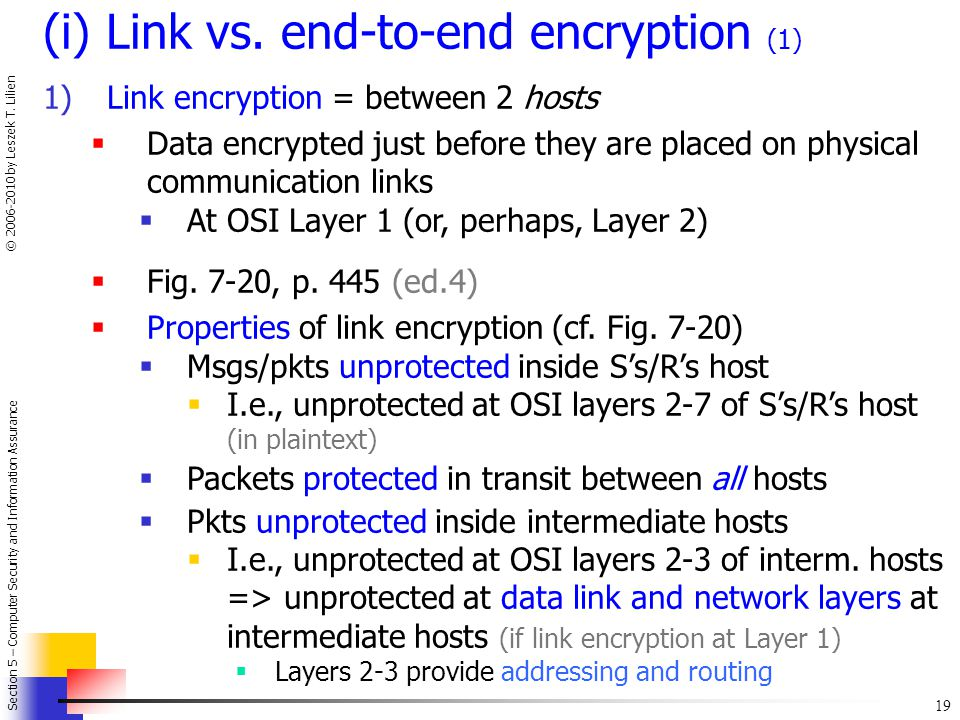 (i) Link vs. end-to-end encryption (1)