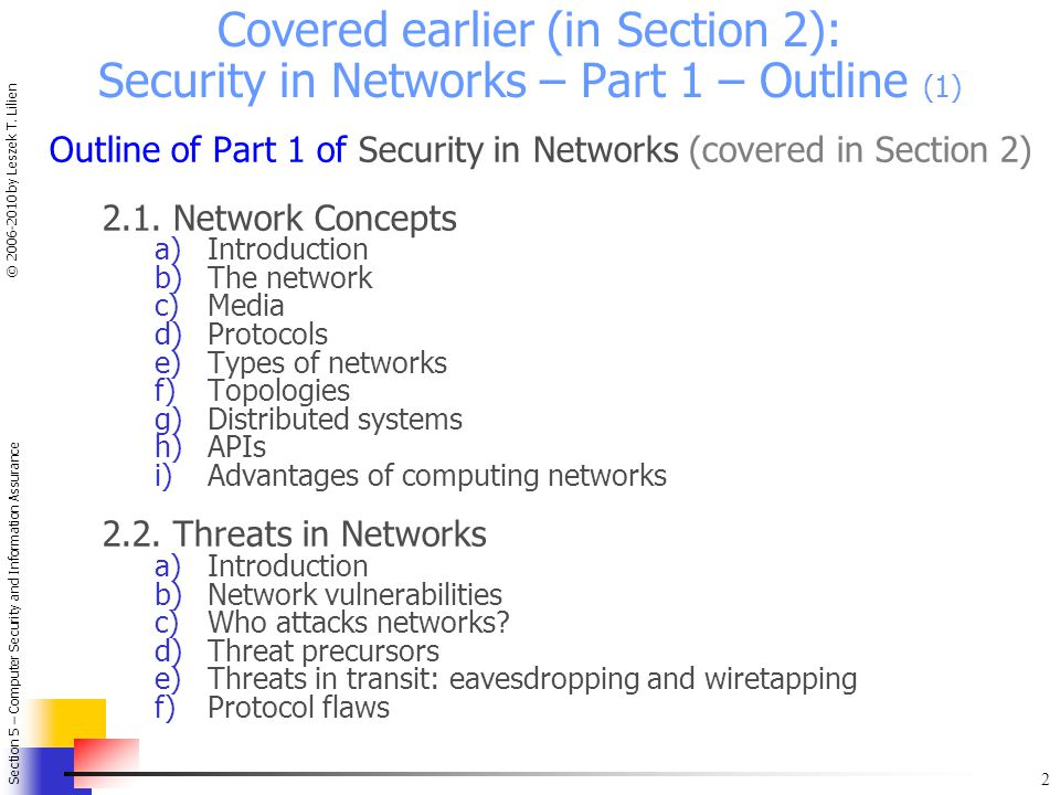 Covered earlier (in Section 2): Security in Networks – Part 1 – Outline (1)