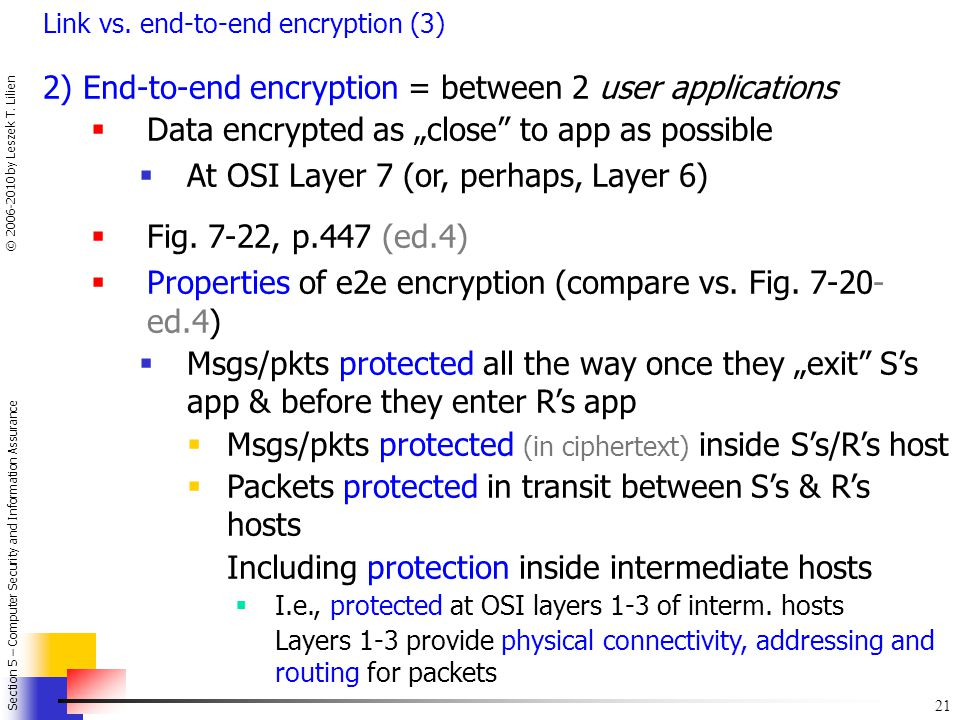 2) End-to-end encryption = between 2 user applications