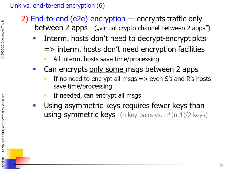 Interm. hosts don't need to decrypt-encrypt pkts