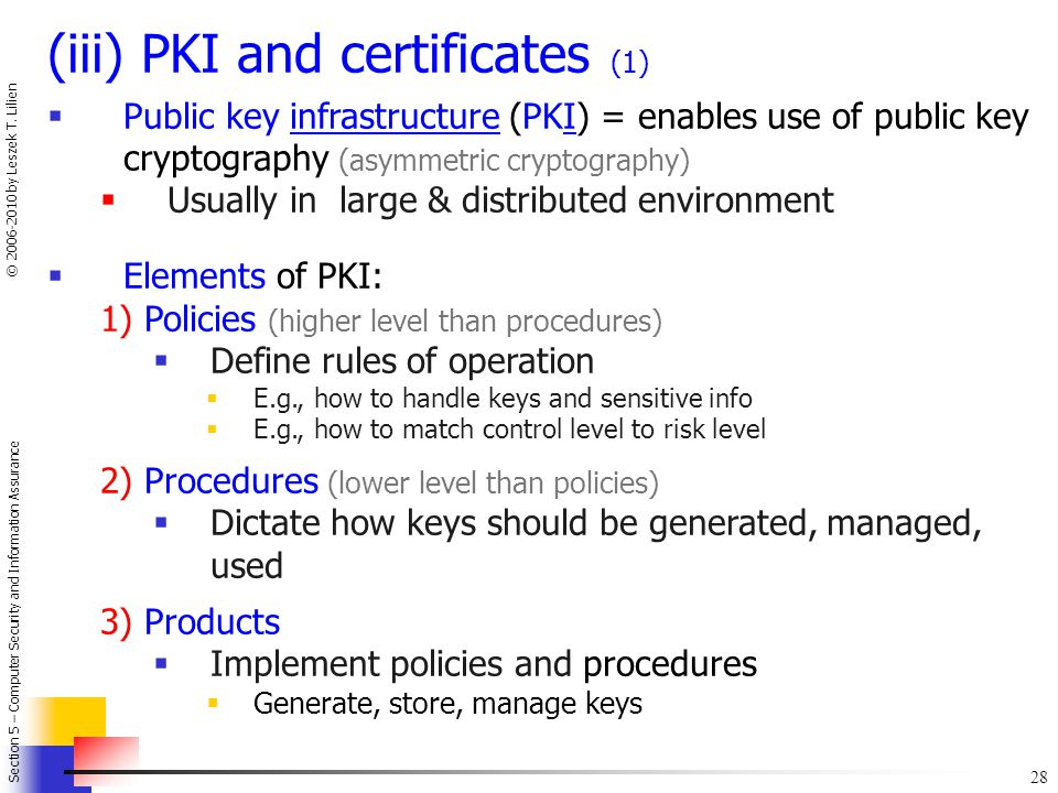 (iii) PKI and certificates (1)