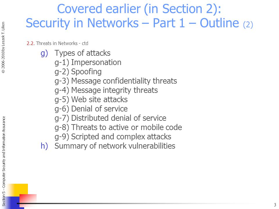 Covered earlier (in Section 2): Security in Networks – Part 1 – Outline (2)