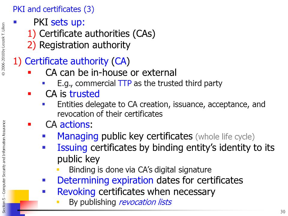 1) Certificate authorities (CAs) 2) Registration authority