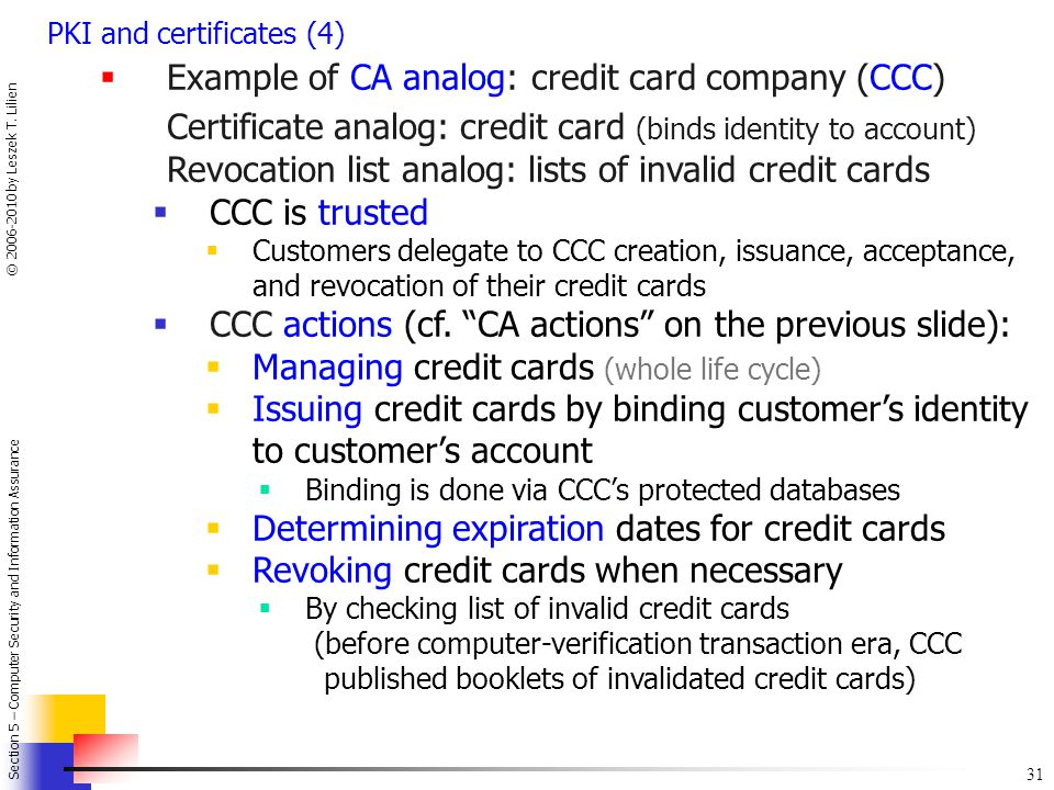 Certificate analog: credit card (binds identity to account)