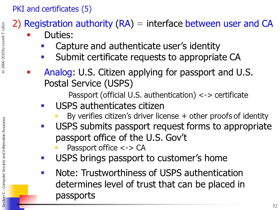 2) Registration authority (RA) = interface between user and CA Duties: