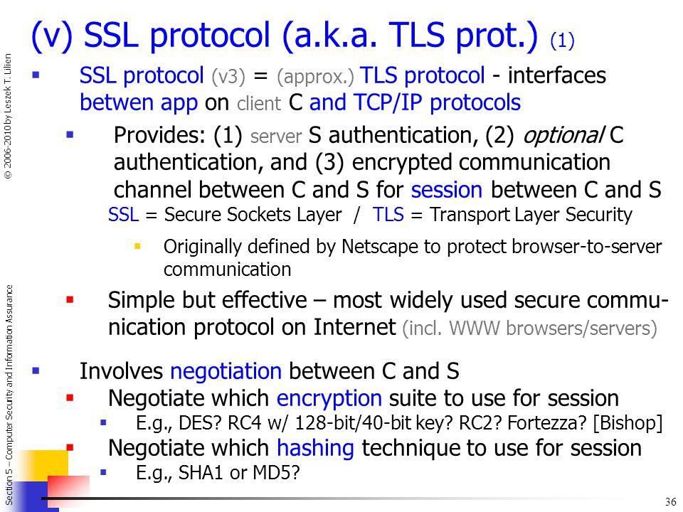 (v) SSL protocol (a.k.a. TLS prot.) (1)
