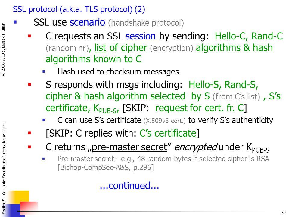 SSL use scenario (handshake protocol)