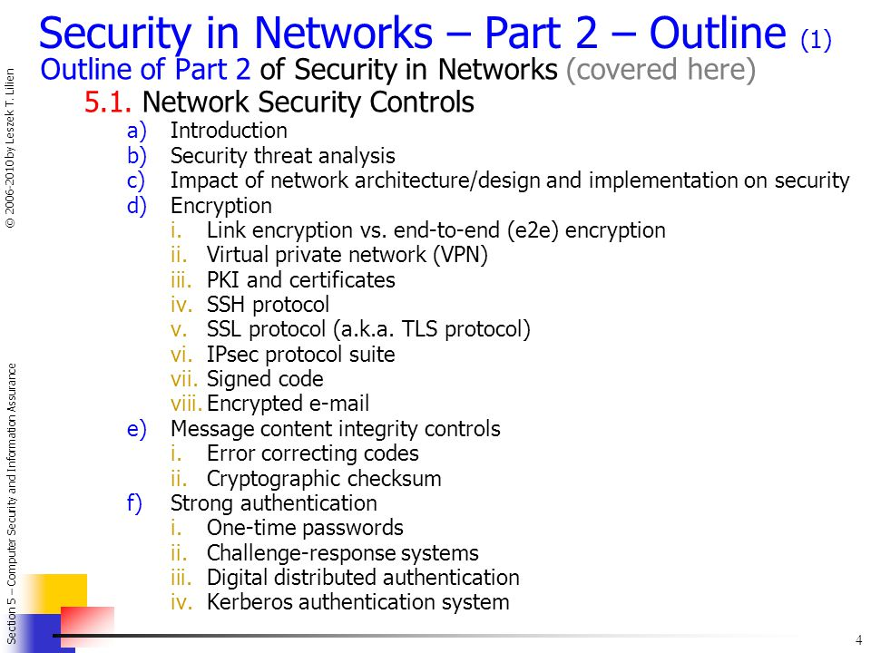 Security in Networks – Part 2 – Outline (1)