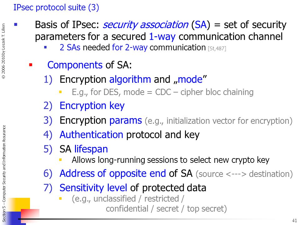 "Encryption algorithm and ""mode Encryption key"