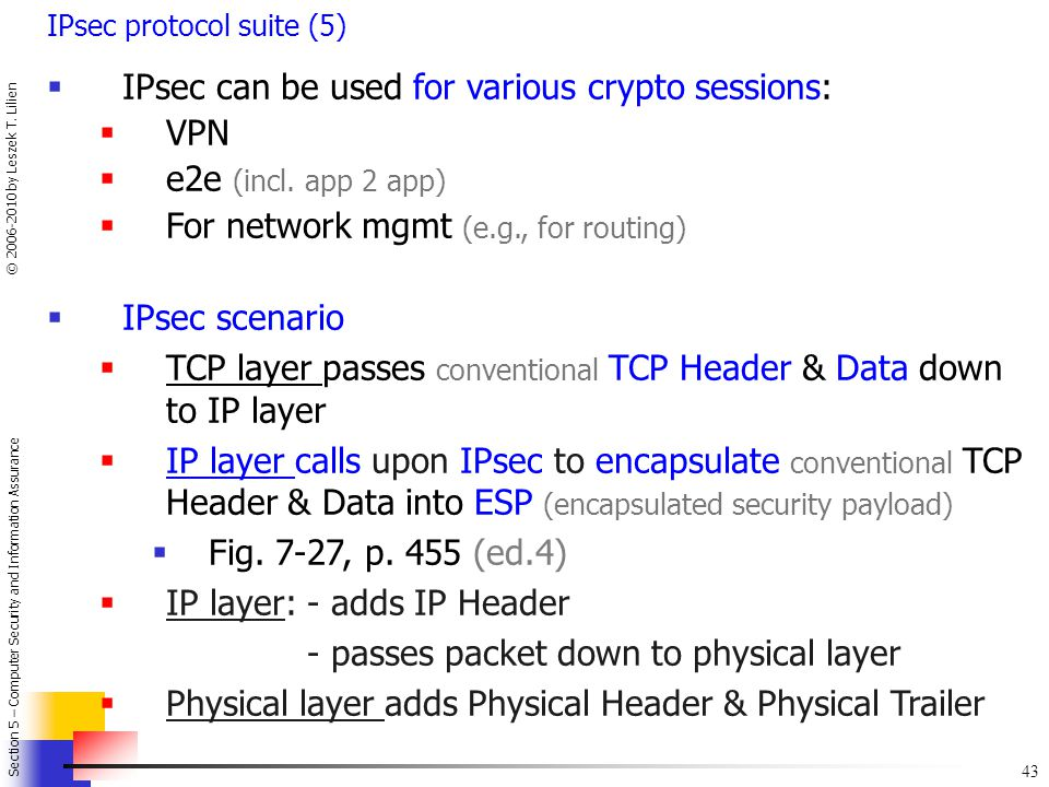 IPsec can be used for various crypto sessions: VPN