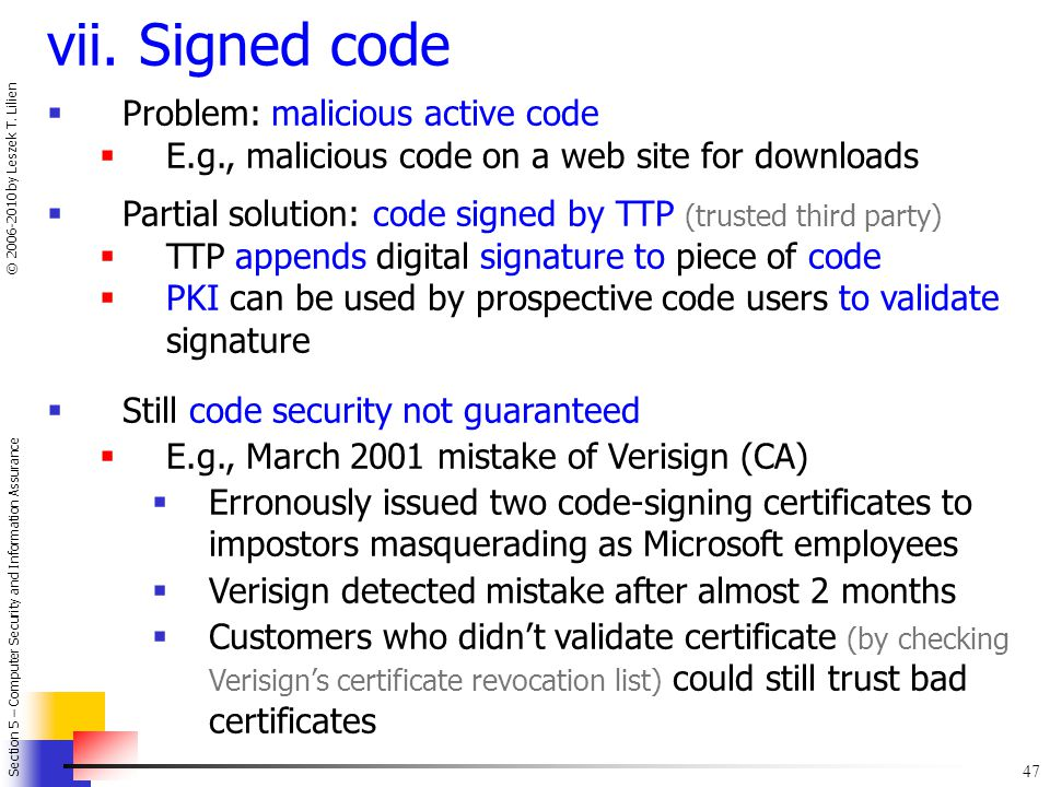 vii. Signed code Problem: malicious active code