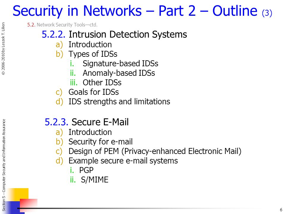 Security in Networks – Part 2 – Outline (3)