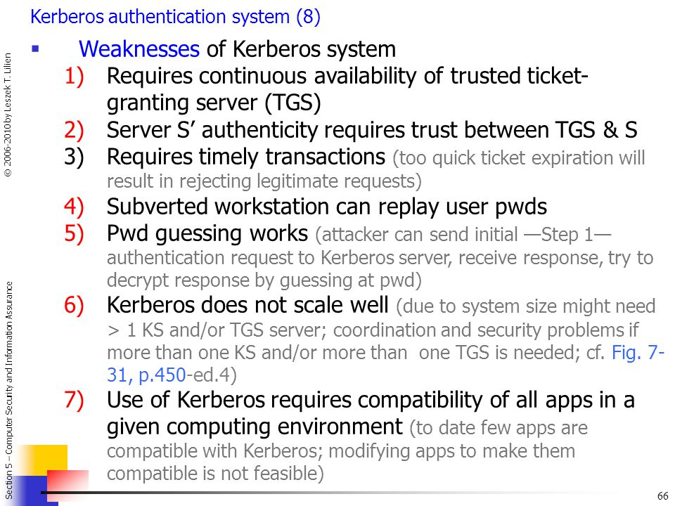 Weaknesses of Kerberos system