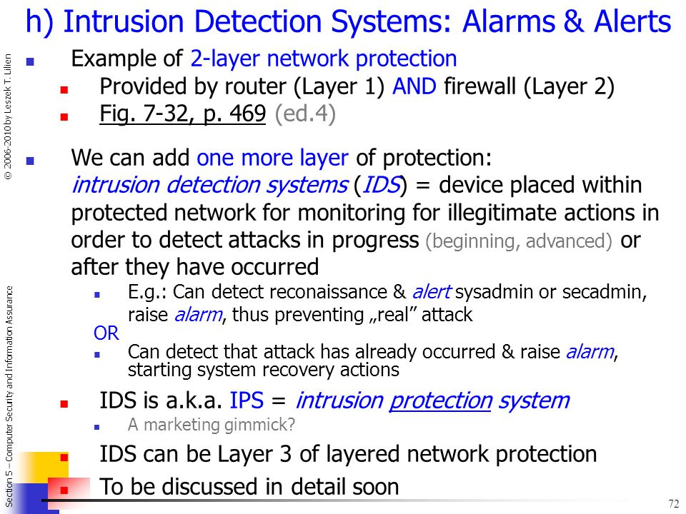 h) Intrusion Detection Systems: Alarms & Alerts