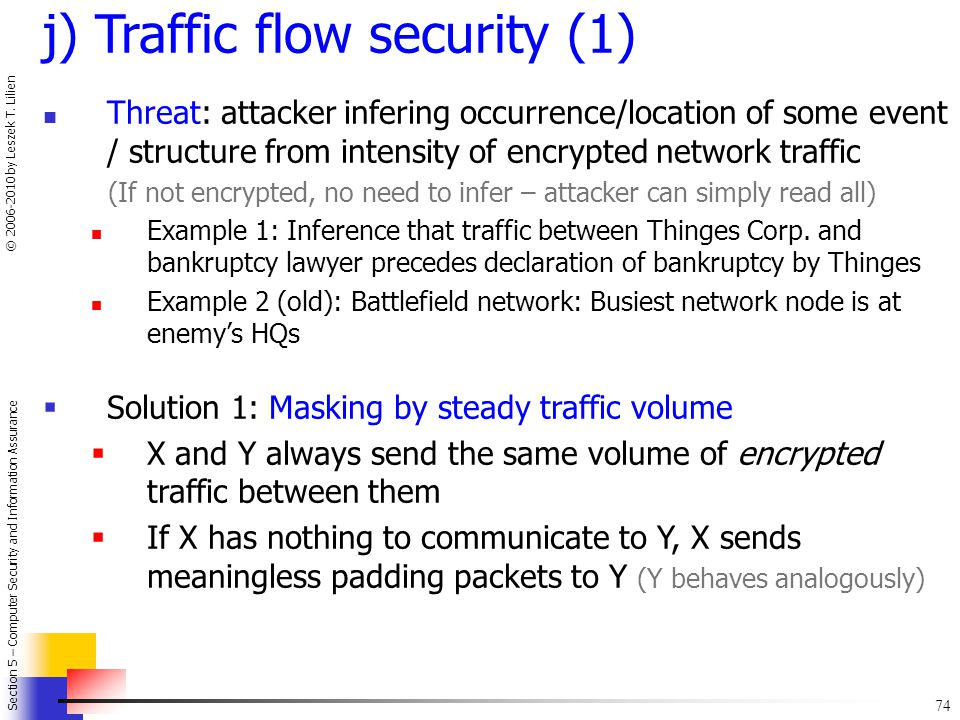 j) Traffic flow security (1)