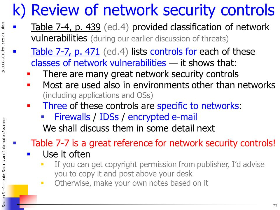 k) Review of network security controls