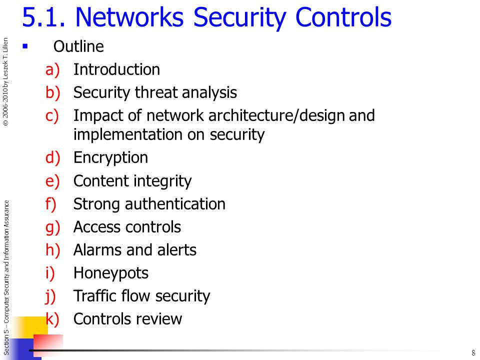 5.1. Networks Security Controls